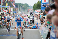 Laurens De Vreese (BEL/Wanty-GroupeGobert) & Bjorn Leukemans (BEL/Wanty-GroupeGobert) crash just in front of the finish line<br /> <br /> 2014 Belgium Tour<br /> (final) stage 5: Oreye - Oreye (179km)
