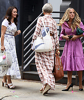 NEW YORK, NY - July 20: Sarah Jessica Parker, Kristin Davis and Cynthia Nixon on the set of the HBOMax Sex and the City reboot series And Just Like That on July 20, 2021 in New York City. Credit: RW/MediaPunch