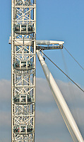 The landmark ferris wheel of London, The London Eye, located by the River Thames.  A great tourist attraction to view the city from above. The London Eye, the largest ferris wheel in the world.