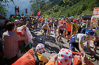 André Greipel (DEU/Lotto-Soudal) experiencing the craziness at the Dutch Corner (nr7) up Alpe d'Huez<br /> <br /> stage 20: Modane Valfréjus - Alpe d'Huez (111km)<br /> 2015 Tour de France
