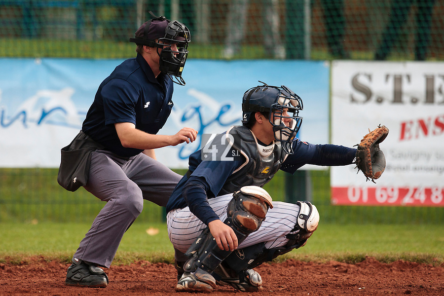 16 October 2010: Boris Marche of Rouen is seen catching during Rouen 16-4 win over Savigny, during game 1 of the French championship finals, in Savigny sur Orge, France.