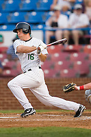 Winston-Salem right fielder Daron Roberts (16) follows through on his swing versus Potomac at Ernie Shore Field in Winston-Salem, NC, Thursday, August 2, 2007.