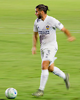 CARSON, CA - OCTOBER 18: Emiliano Insua #3 of the Los Angeles Galaxy moves with the ball during a game between Vancouver Whitecaps and Los Angeles Galaxy at Dignity Heath Sports Park on October 18, 2020 in Carson, California.