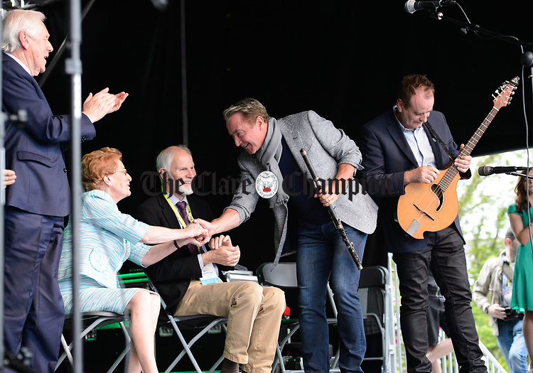 Michael Flatley greets Anne Finnegan, President CCE after performing at the official opening of the All-Ireland Fleadh 2017 in Ennis. Photograph by John Kelly.