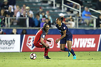 Cary, NC - Saturday April 22, 2017: Rosana (right) pushes past Meleana Shim (6) during a regular season National Women's Soccer League (NWSL) match between the North Carolina Courage and the Portland Thorns FC at Sahlen's Stadium at WakeMed Soccer Park.