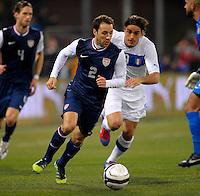 Steve Cherundolo  (l, USA), during the friendly match Italy against USA at the Stadium Luigi Ferraris at Genoa Italy on february the 29th, 2012.