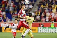 Harrison, NJ - Wednesday July 06, 2016: Konrad Plewa, Miguel Samudio during a friendly match between the New York Red Bulls and Club America at Red Bull Arena.