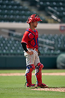 Philadelphia Phillies catcher Jack Conley (23) during a Minor League Spring Training game against the Detroit Tigers on April 17, 2021 at Joker Marchant Stadium in Lakeland, Florida.  (Mike Janes/Four Seam Images)