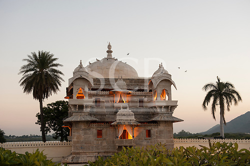 Udaipur, Rajasthan, India. Jagmandir Palace, inspiration for the Taj Mahal. Lake Pichola. Evening.