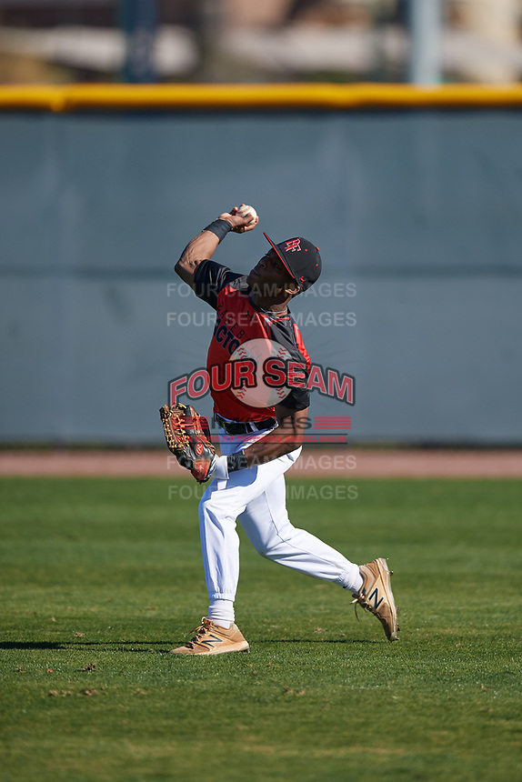 Al Dumas (1) of Eupora High School in Eupora, Mississippi during the Baseball Factory All-America Pre-Season Tournament, powered by Under Armour, on January 13, 2018 at Sloan Park Complex in Mesa, Arizona.  (Mike Janes/Four Seam Images)