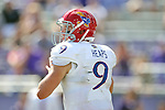 Kansas Jayhawks quarterback Jake Heaps (9) in action during the game between the Kansas Jayhawks and the TCU Horned Frogs  at the Amon G. Carter Stadium in Fort Worth, Texas. TCU defeats Kansas 27 to 17.