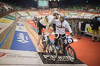 victory kiss for derny rider Michel Vaarten by Sir Bradley Wiggins (GBR/Wiggins) himself<br /> <br /> 2016 Gent 6<br /> day 4