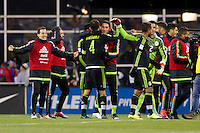 Columbus, Ohio - Friday, November 11, 2016: Mexico celebrates, Rafael Marquez during a USMNT vs Mexico WCQ at Mapfre Stadium. Mexico defeated the USA 2-1.