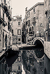 Back alley and canal of Venice, Italy