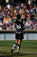 Marta Vieira da Silva (10) of the Los Angeles Sol celebrates scoring her second goal. The Los Angeles Sol defeated Sky Blue FC 2-0 during a Women's Professional Soccer match at TD Bank Ballpark in Bridgewater, NJ, on April 5, 2009. Photo by Howard C. Smith/isiphotos.com