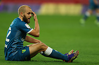 26th December 2020; Vicarage Road, Watford, Hertfordshire, England; English Football League Championship Football, Watford versus Norwich City; Teemu Pukki of Norwich City complains of a head injury after contact