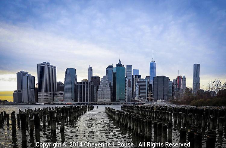 New York City Skyline - Colorful - East River - Brooklyn Bridge Park