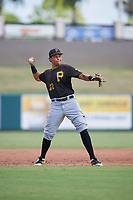 Pittsburgh Pirates Emilson Rosado (22) throws to first base during a Florida Instructional League game against the Detroit Tigers on October 6, 2018 at Joker Marchant Stadium in Lakeland, Florida.  (Mike Janes/Four Seam Images)