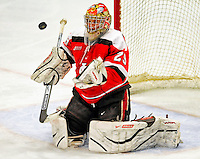 3 January 2009: St. Lawrence Saints' goaltender Kain Tisi, a Junior from Mississauga, Ontario, makes a third period save against the University of Vermont Catamounts during the championship game of the Catamount Cup Ice Hockey Tournament at Gutterson Fieldhouse in Burlington, Vermont. The Cats defeated the Saints 4-0 and won the tournament for the second time since its inception in 2005...Mandatory Photo Credit: Ed Wolfstein Photo