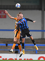 Hull City's Reece Burke battles with Rochdale's Jake Beesley<br /> <br /> Photographer Dave Howarth/CameraSport<br /> <br /> The EFL Sky Bet League One - Rochdale v Hull City - Saturday 17th October 2020 - Spotland Stadium - Rochdale<br /> <br /> World Copyright © 2020 CameraSport. All rights reserved. 43 Linden Ave. Countesthorpe. Leicester. England. LE8 5PG - Tel: +44 (0) 116 277 4147 - admin@camerasport.com - www.camerasport.com