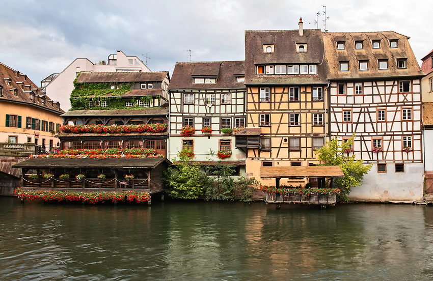 Early morning view along the River Ill in Strasbourg, Alsace