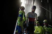 Zdenek Stybar (CZE/Etixx-QuickStep) backstage on the start podium of the 58th E3 Harelbeke