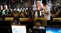 An internet Cafe in Shanghai, China. Online gaming is a massive industry in China with over 137 million users generating a massive profits for the leading online gaming comapanies such as NCsoft, Global Gaming League, etc..07 Oct 2009