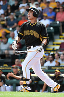 Pittsburgh Pirates shortstop Jung Ho Kang (27) during a Spring Training game against the Minnesota Twins on March 13, 2015 at McKechnie Field in Bradenton, Florida.  Minnesota defeated Pittsburgh 8-3.  (Mike Janes/Four Seam Images)