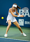 Agnieszka Radwanska (POL) during her quarterfinal match against Angelique Kerber (GER) at the Bank of the West Classic in Stanford, CA on August 7, 2015. Radwanska fell to Kerber by 46 64 64