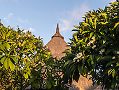 Flic en Flac, Mauritius. La Pirogue tourist resort. Traditional thatch roof and Frangipani trees.