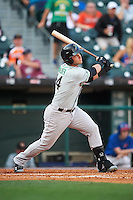 Norfolk Tides designated hitter Christian Walker (14) hits a home run during a game against the Buffalo Bisons on July 18, 2016 at Coca-Cola Field in Buffalo, New York.  Norfolk defeated Buffalo 11-8.  (Mike Janes/Four Seam Images)