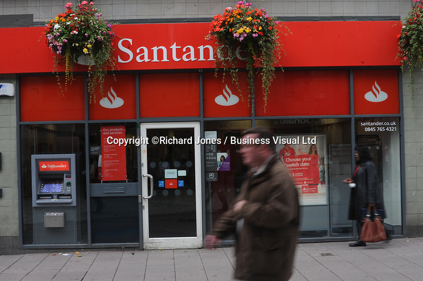 Santander Bank, Cardiff.  The Santander recently joined the Governments Help to Buy Scheme aimed at first time home owners.  29-Sept-2013