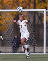 Boston College midfielder/defender Casey Morrison (3) heads the ball.  Boston College defeated Marist College, 6-1, in NCAA tournament play at Newton Campus Field, November 13, 2011.