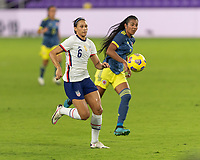ORLANDO, FL - JANUARY 22: Lynn Williams #6 runs down a pass during a game between Colombia and USWNT at Exploria stadium on January 22, 2021 in Orlando, Florida.