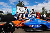 #10: Alex Palou, Chip Ganassi Racing Honda celebrates in victory lane