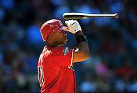 Apr. 27, 2011; Phoenix, AZ, USA; Arizona Diamondbacks outfielder Justin Upton throws his bat after striking out in the eighth inning against the Philadelphia Phillies at Chase Field. Mandatory Credit: Mark J. Rebilas-