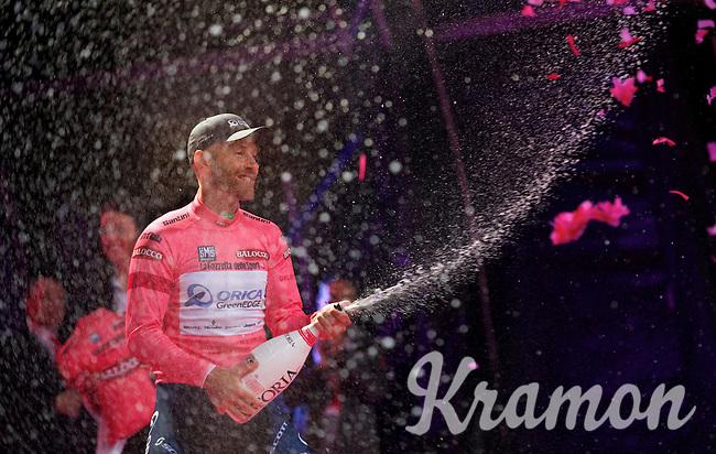 champagne & La Maglia Rosa for birthday boy (37) Svein Tuft (CAN/Orica-GreenEdge)<br /> <br /> Giro d'Italia 2014<br /> stage 1: TTT