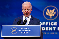 """President-elect Joe Biden speaks about the violent protests in Washington from The Queen theater in Wilmington, Del., Wednesday, Jan. 6, 2021. Biden has called the violent protests on the U.S. Capitol """"an assault on the most sacred of American undertakings: the doing of the people's business."""" (AP Photo/Susan Walsh)"""