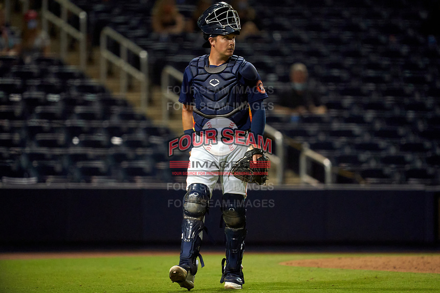 Houston Astros catcher Michael Papierski (74) during a Major League Spring Training game against the Washington Nationals on March 19, 2021 at The Ballpark of the Palm Beaches in Palm Beach, Florida.  (Mike Janes/Four Seam Images)