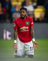 Fred of Man Utd during the Premier League match between Watford and Manchester United at Vicarage Road, Watford, England on 22 December 2019. Photo by Andy Rowland.