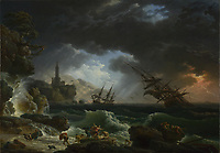Full title: A Shipwreck in Stormy Seas<br /> Artist: Claude-Joseph Vernet<br /> Date made: 1773<br /> Source: http://www.nationalgalleryimages.co.uk/<br /> Contact: picture.library@nationalgallery.co.uk<br /> <br /> Copyright © The National Gallery, London