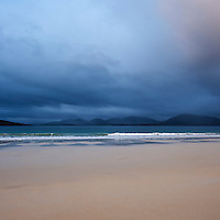 Dark clouds of approaching storm over Luskentyre beach, Isle of Harris, Outer Hebrides, Scotland
