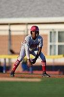 Auburn Doubledays Junior Martina (6) leads off first base during a NY-Penn League game against the Batavia Muckdogs on August 31, 2019 at Dwyer Stadium in Batavia, New York.  Auburn defeated Batavia 12-5.  (Mike Janes/Four Seam Images)