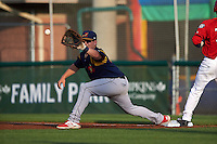 State College Spikes first baseman R.J. Dennard (32) stretches for a throw during a game against the Auburn Doubledays on July 6, 2015 at Falcon Park in Auburn, New York.  State College defeated Auburn 9-7.  (Mike Janes/Four Seam Images)