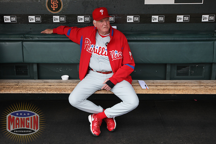 SAN FRANCISCO - AUGUST 2:  Manager Charlie Manuel #41 of the Philadelphia Phillies gets ready in the dugout before the game against the San Francisco Giants at AT&T Park on August 2, 2009 in San Francisco, California. Photo by Brad Mangin