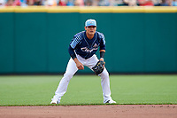 Columbus Clippers shortstop Yu Chang (6) during a game against the Gwinnett Stripers on May 17, 2018 at Huntington Park in Columbus, Ohio.  Gwinnett defeated Columbus 6-0.  (Mike Janes/Four Seam Images)
