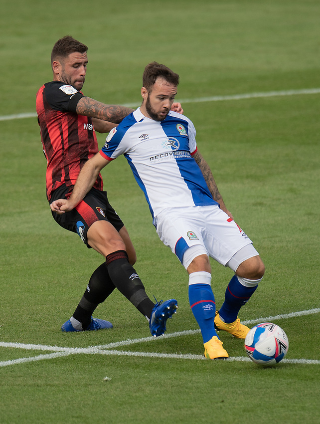 Blackburn Rovers' Adam Armstrong (right) is tackled from behind by Bournemouth's Steve Cook (left) <br /> <br /> Photographer David Horton/CameraSport <br /> <br /> The EFL Sky Bet Championship - Bournemouth v Blackburn Rovers - Saturday September 12th 2020 - Vitality Stadium - Bournemouth<br /> <br /> World Copyright © 2020 CameraSport. All rights reserved. 43 Linden Ave. Countesthorpe. Leicester. England. LE8 5PG - Tel: +44 (0) 116 277 4147 - admin@camerasport.com - www.camerasport.com