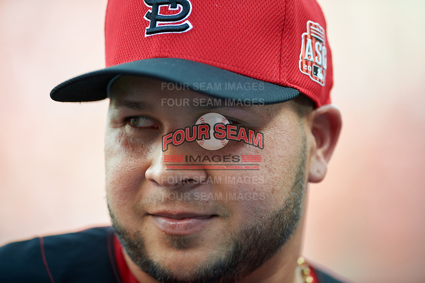 St. Louis Cardinals Yadier Molina during practice before the MLB All-Star Game on July 14, 2015 at Great American Ball Park in Cincinnati, Ohio.  (Mike Janes/Four Seam Images)