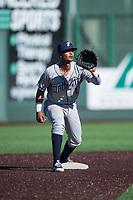 Tri-City Dust Devils shortstop Kelvin Alarcon (1) during a Northwest League game against the Everett AquaSox at Everett Memorial Stadium on September 3, 2018 in Everett, Washington. The Everett AquaSox defeated the Tri-City Dust Devils by a score of 8-3. (Zachary Lucy/Four Seam Images)