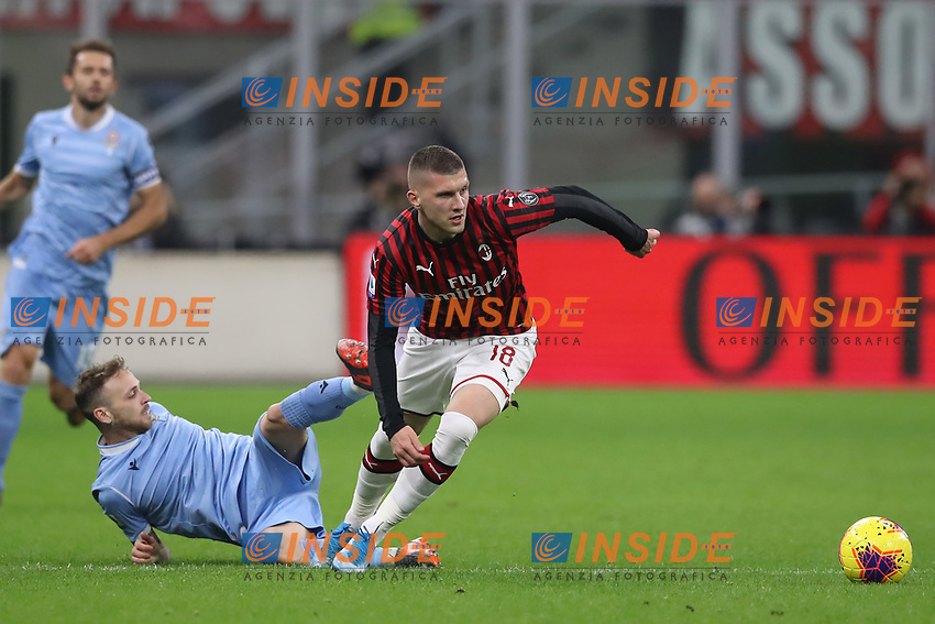 Ante Rebic of AC Milan overpowers Manuel Lazzari of Lazio during the Serie A match at Giuseppe Meazza, Milan. Picture date: 3rd November 2019. Picture credit should read: Jonathan Moscrop/Sportimage PUBLICATIONxNOTxINxUK SPI-0299-0032<br /> Milano 03-11-2019 Stadio San Siro <br /> Football Serie A 2019/2020 <br /> AC Milan - SS Lazio <br /> Photo Jonathan Moscrop / Sportimage / Imago  / Insidefoto <br /> ITALY ONLY
